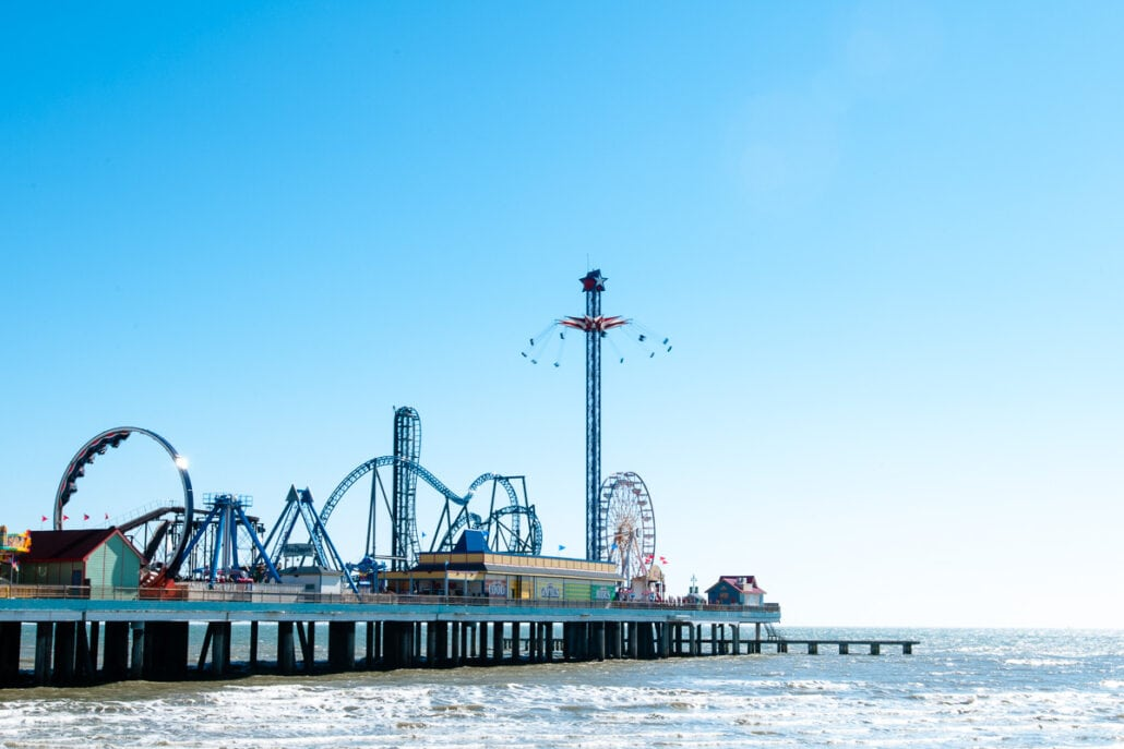 Galveston Pleasure Pier in color on a cold winter day #0312. Photograph by Jeff Kauffman