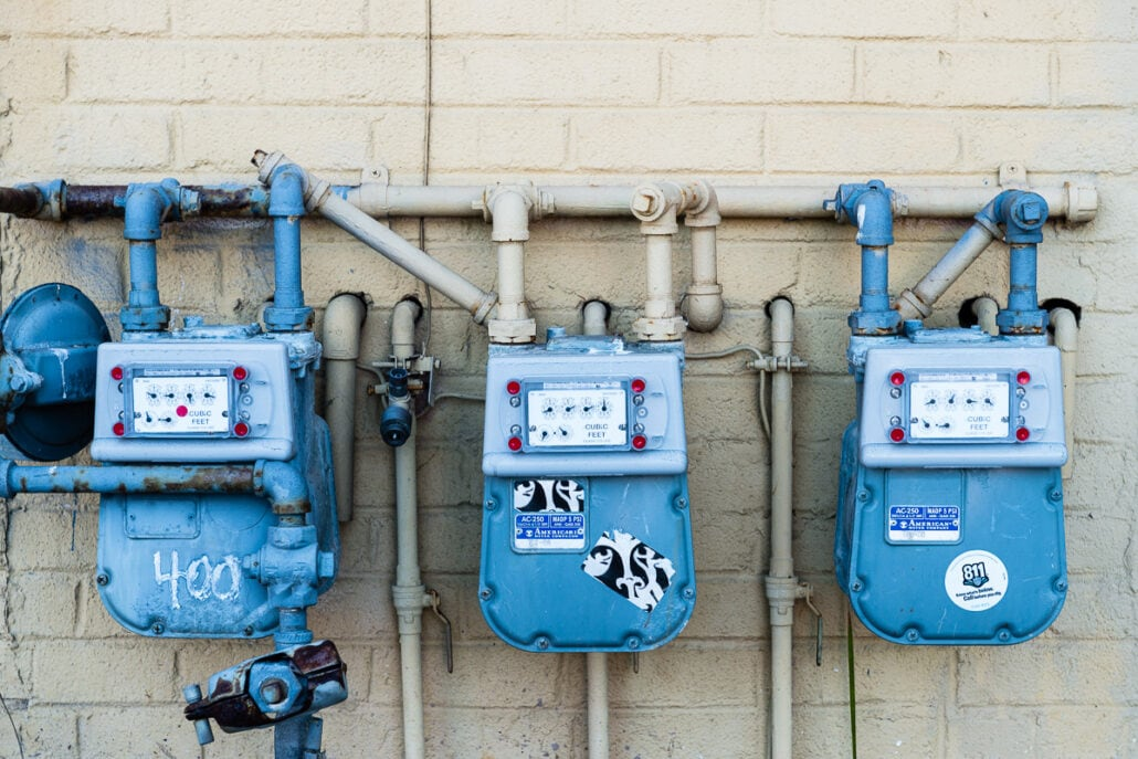 Regulations #0698, visual rhythms in natural gas installations, photograph by Jeff Kauffman